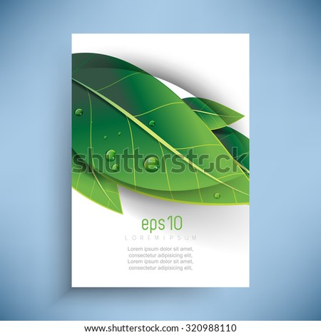 overlapping green leaves with dew drops nature ecology background design - stock vector