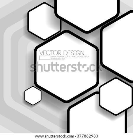 overlapping hexagon flat black and white design - stock vector