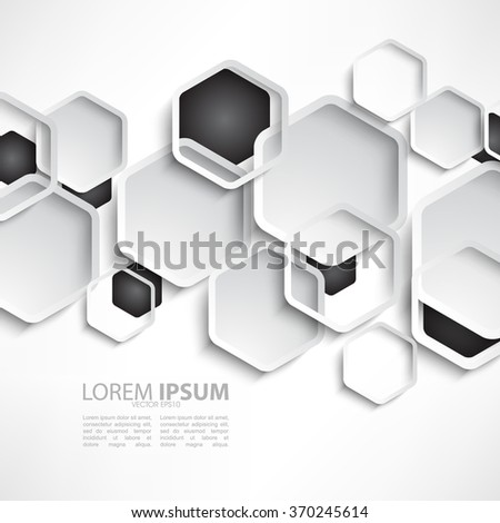 overlapping hexagon shape polygons flat layout background design - stock vector
