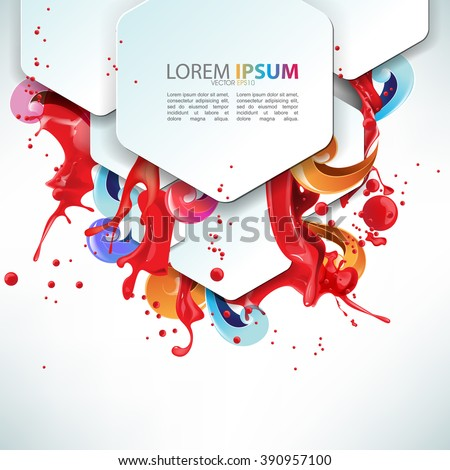 overlapping hexagon with red ink and paint splashed background elements eps10 vector illustration - stock vector