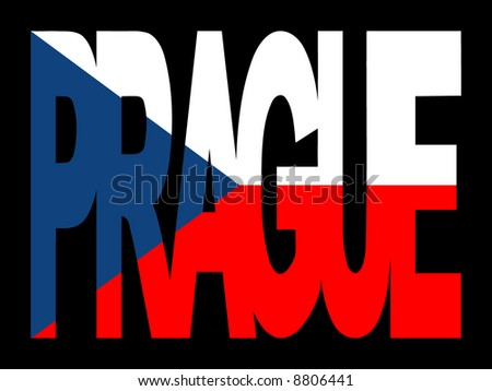 overlapping Prague text with Czech Republic flag illustration