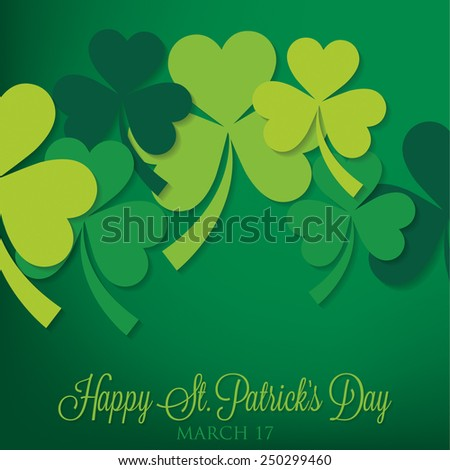 Overlapping shamrock St Patrick's Day card in vector format. - stock vector