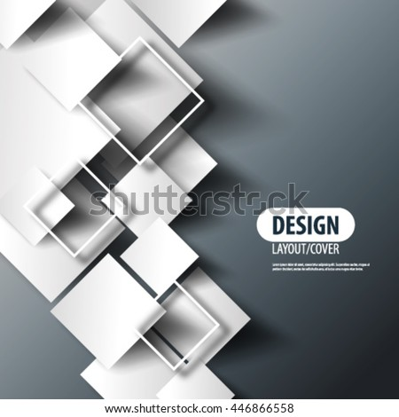 Overlapping Squares Layout/Design Cover Background - stock vector