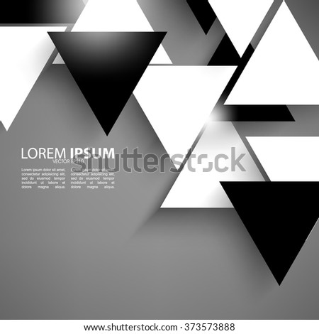overlapping triangle black and white flat layout - stock vector
