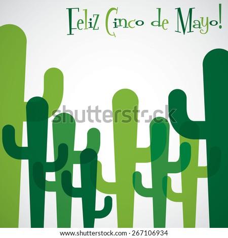 Overlay cactus Cinco de Mayo card in vector format. - stock vector
