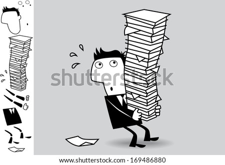Overloaded. Business illustration (EPS 8). Animation friendly: the elements ( arms, heads etc) are in the separate layers. - stock vector