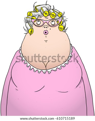 Overweight Elderly Lady Curlers Pink Dressing Stock Vector ...