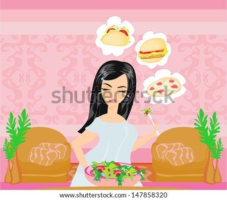 overweight girl eats a salad but dreams of eating fast food - stock vector