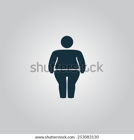 Overweight man symbol. Flat web icon, sign or button isolated on grey background. Collection modern trend concept design style vector illustration symbol - stock vector