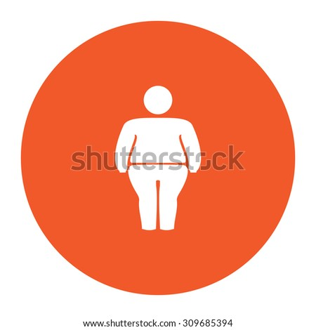 Overweight man symbol. Flat white symbol in the orange circle. Vector illustration icon - stock vector