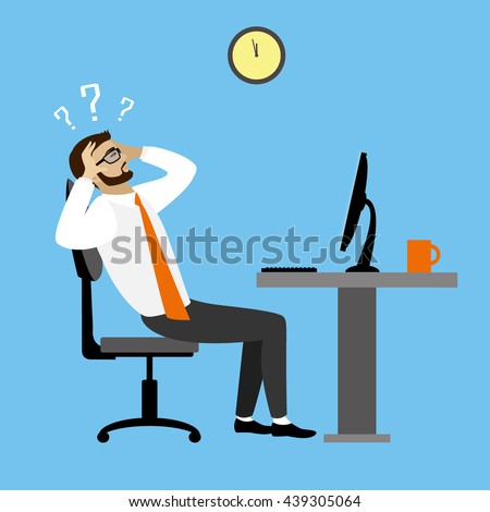 Overworked and tired businessman or office worker sitting at his desk ,Business stress. Flat style modern vector illustration. - stock vector