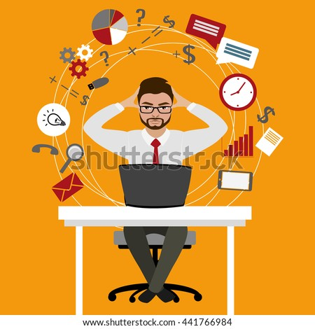 Overworked and tired businessman or office worker sitting at his desk ,Business stress. Flat style modern vector illustration.