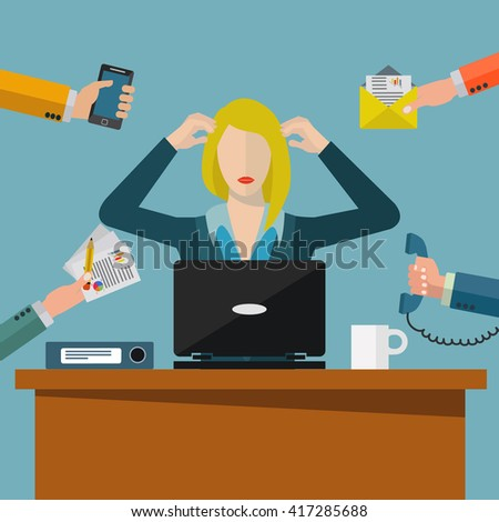 Overworked business woman, work environment stress vector illustration - stock vector