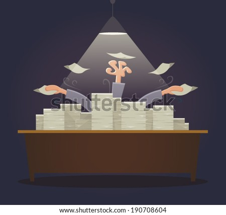 Overworked businessman drowning on paperwork. - stock vector