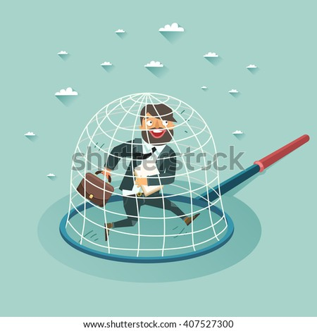 Overworked businessman in a trap. Career concept. Vector colorful illustration in flat style - stock vector