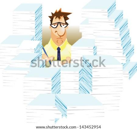 Overworked sad cartoon business man - Vector clip art illustration on white background - stock vector
