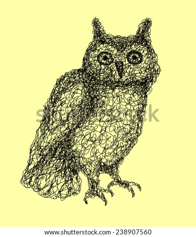 Owl abstract doodle style. Bird animal with black drawing style. Good use for illustration, symbol, mascot, icon, or any design you want. Easy to use, edit, or change color. - stock vector