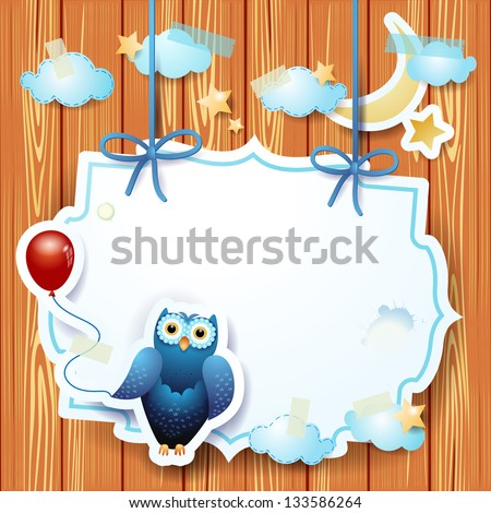 Owl and balloon and custom label, vector - stock vector