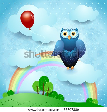 Owl and balloon on fantasy landscape, vector - stock vector
