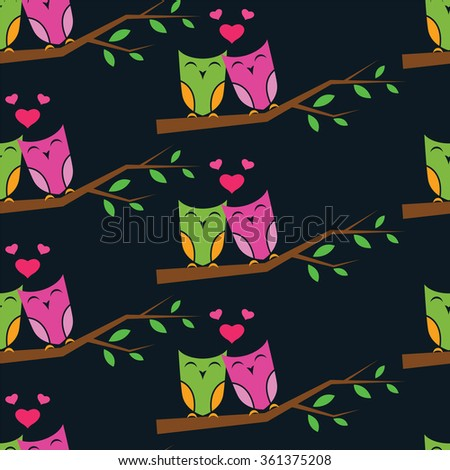 Owl and branch vector art background design for fabric and decor. Seamless pattern - stock vector