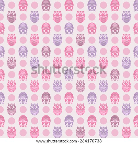 Owl and polka dot themed, seamless pattern for fashion (pajama, t-shirt, baby.)  - stock vector
