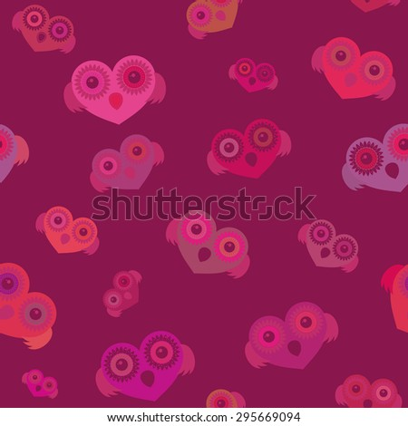 owl as a heart pattern seamless texture - stock vector