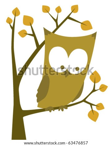 Owl at tree - stock vector