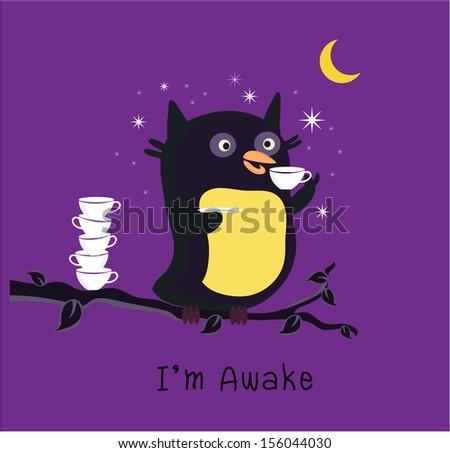 Owl Awake - stock vector
