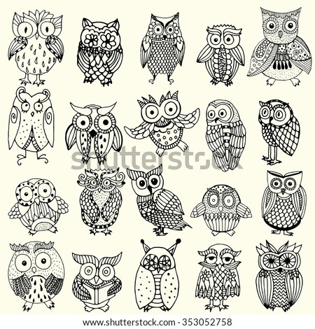 Owl background - multiple owl variations (original drawing vectorized). Owl collection - set of owl variations