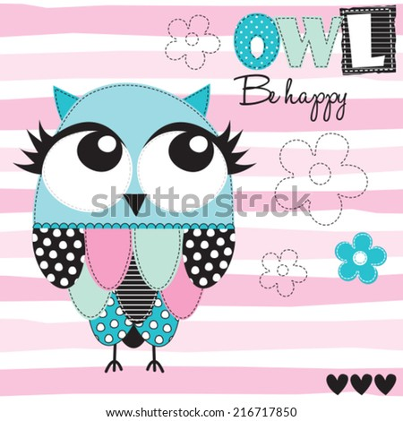 owl be happy vector illustration - stock vector