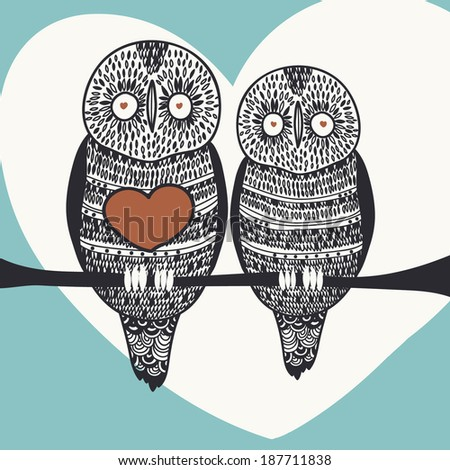 owl bird feeling romantic card - stock vector