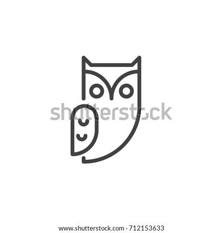 Owl Bird Line Icon Outline Vector Stock Photo (Photo, Vector ...