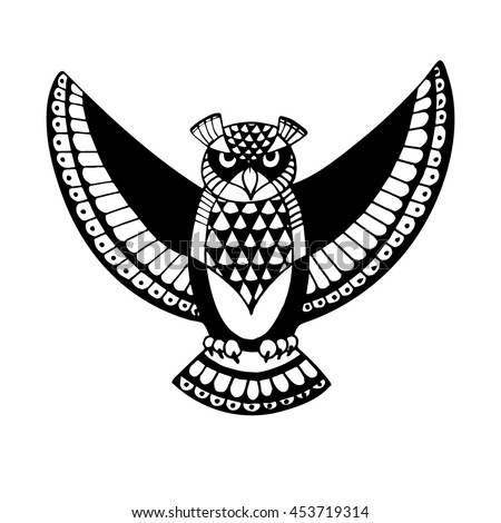 OWL. Bird - symbol of wisdom. Design idea for print, t-shirt, postcard, poster and so on. Vector illustration.