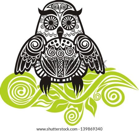 Owl branch pattern vector illustration - stock vector