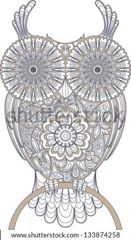 Owl, circuit - stock vector