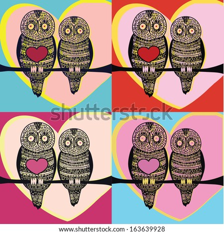 owl couple set - stock vector