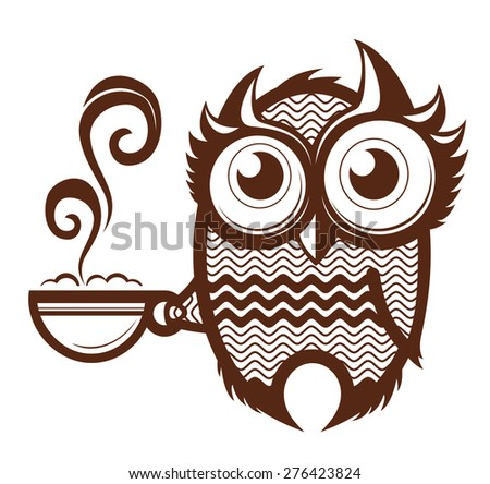 owl cup - stock vector