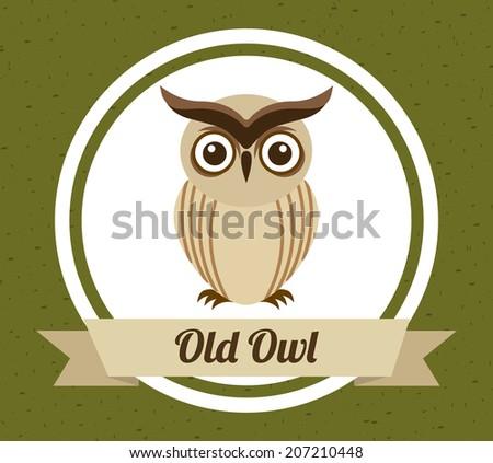 owl design over green background vector illustration - stock vector