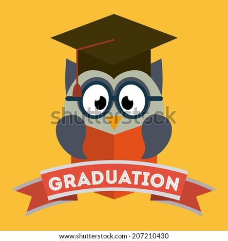 owl design over orange background vector illustration - stock vector