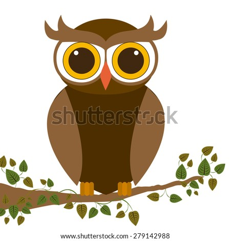 Owl design over white background, vector illustration
