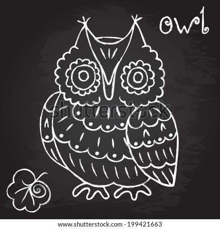 owl doodle chalk design vector illustration e p s 1 0