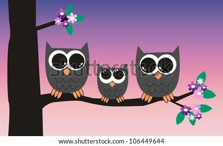 owl family - stock vector