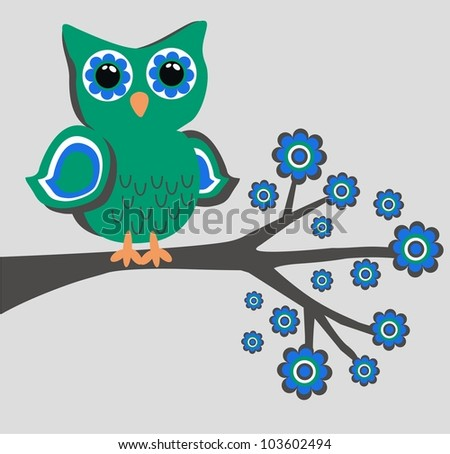 owl flowers - stock vector