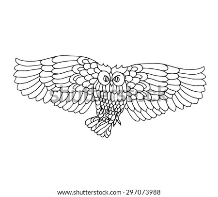owl flying black and white drawing vectorized  - stock vector
