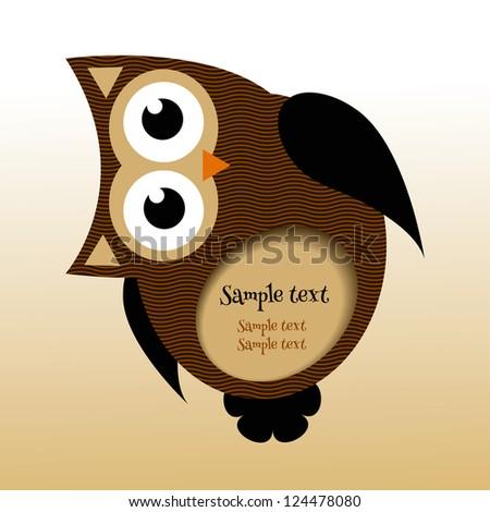 owl frame - stock vector