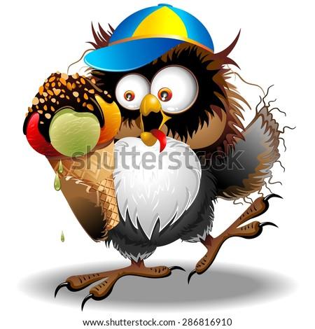 Owl Fun Cartoon with Ice Cream - stock vector