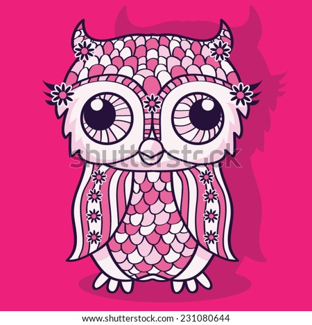 Owl girl illustration, t-shirt graphics, vectors  - stock vector