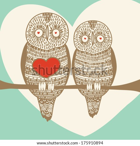owl happiness romantic card - stock vector