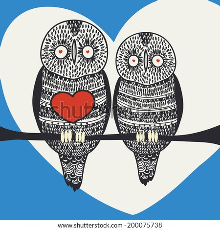 owl happy couple - stock vector