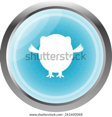 Owl icon button isolated on white